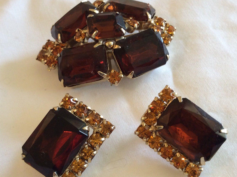 Large Emerald Cut Topaz Rhinestone Set Of Brooch And Earrings By Tahoetonyas On Etsy