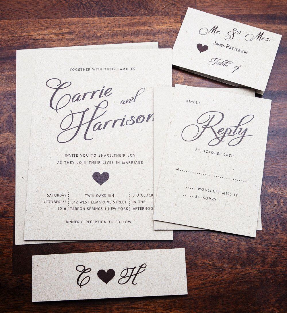 Rustic Wedding Invitation, Simple Wedding, Classic Wedding, Country ...