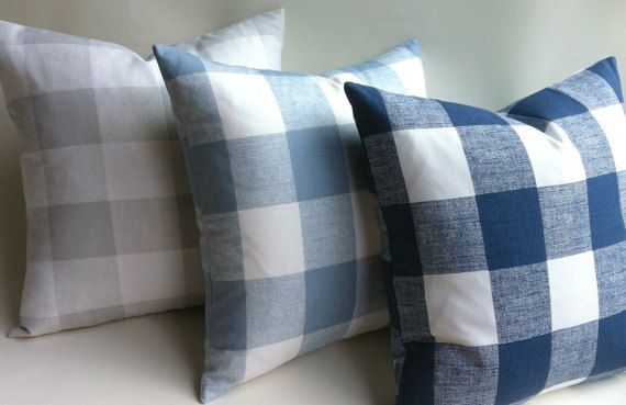 12 Sizes Available One Buffalo Check Plaid Zipper Pillow Cover Medium Blue French Grey Or Light Blue And Blue Plaid Pillows Grey Plaid Pillows Plaid Pillow