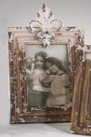 Shabby Chic Fleur De Lis Natural Wood Photo Frame
