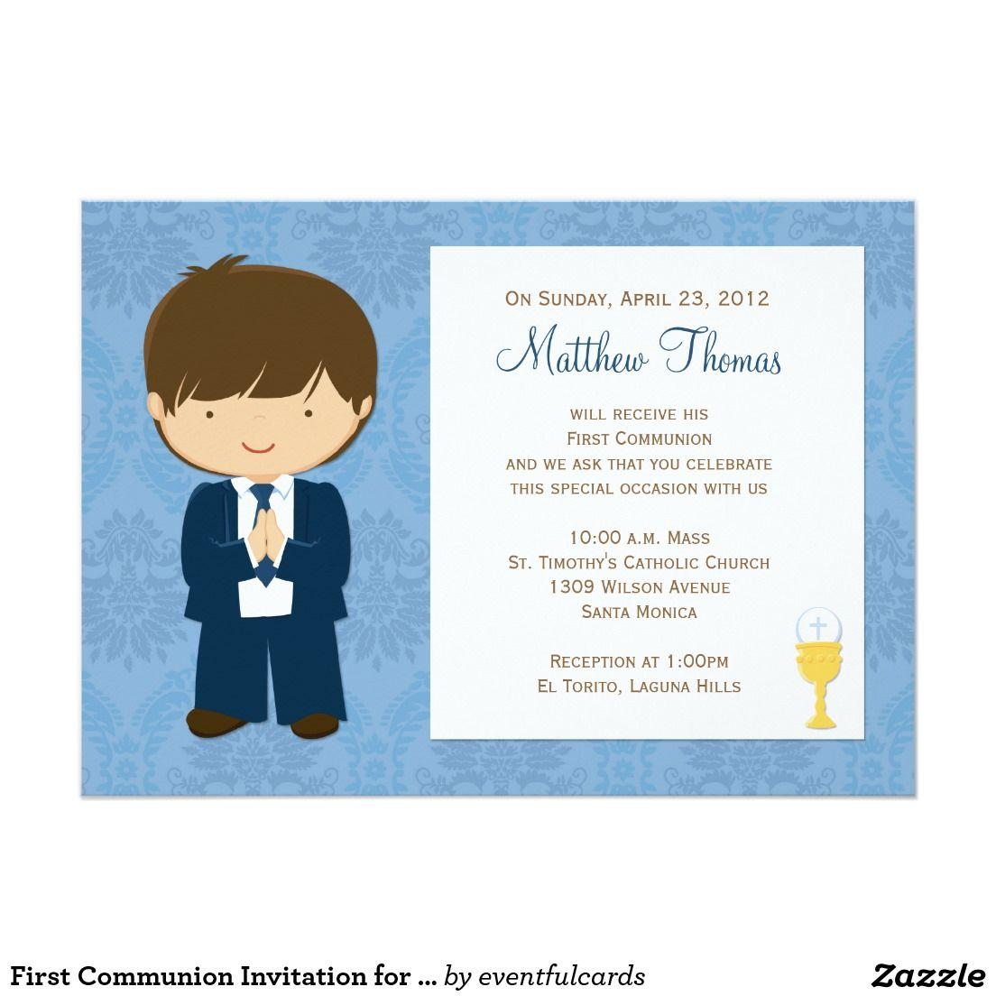Primera invitación de la comunión para el muchacho   Pinterest ...