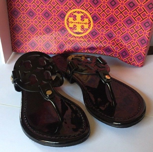ebc4f1963 Tory Burch Black Patent Leather Miller Logo Sandals Shoes Size 8M in ...