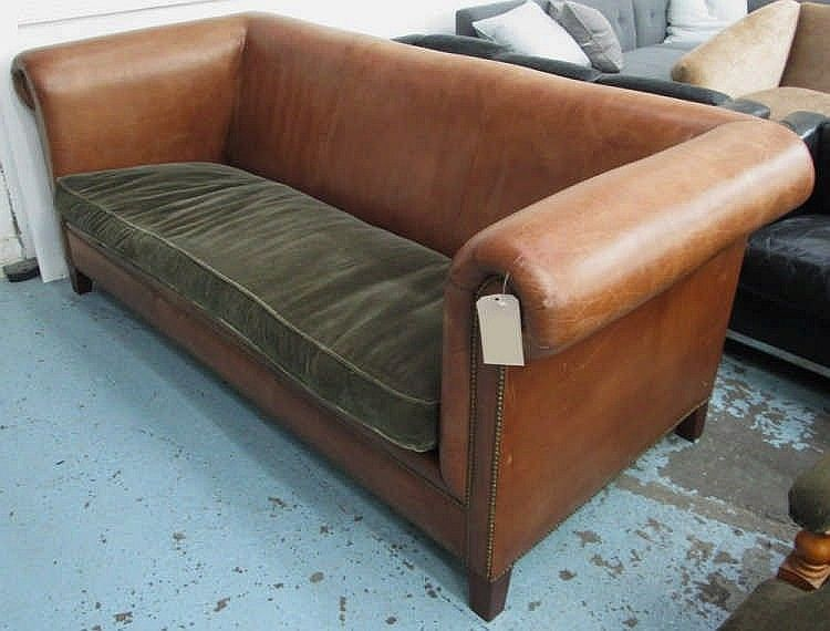 Pleasing Ralph Lauren Sofa High Arms And Back In Brown Leather With Theyellowbook Wood Chair Design Ideas Theyellowbookinfo