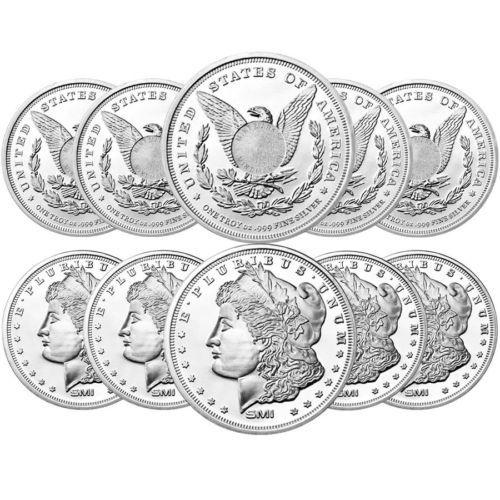 Lot Of 10 Morgan Dollar Design Sunshine 1 Oz 999 Fine Silver Round Morgan Dollars Silver Rounds Fine Silver