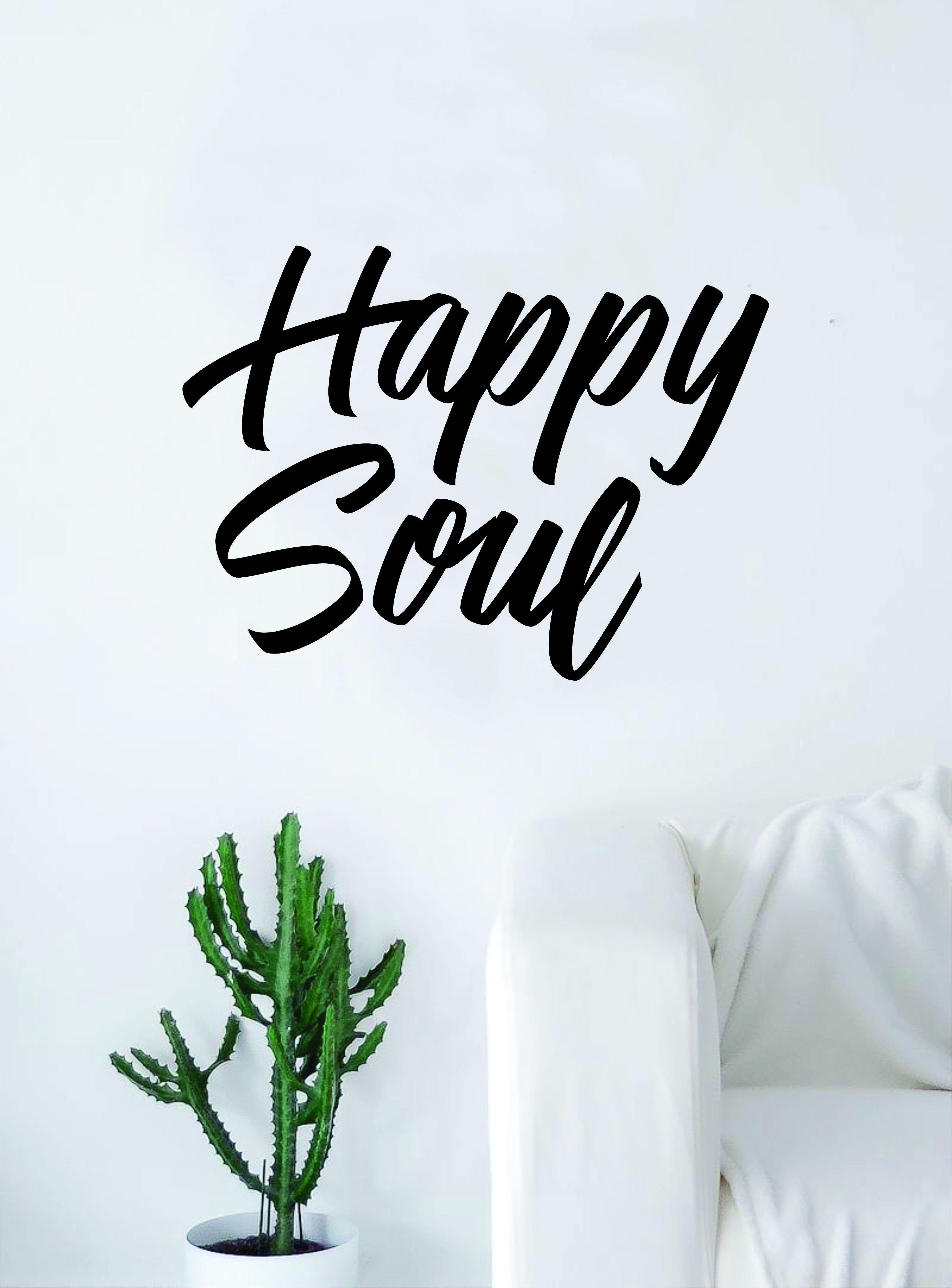 Happy Soul Wall Decal Home Decor Room Bedroom Art Vinyl Sticker Quote Teen Kids Baby Girls Inspirational Yoga - brown