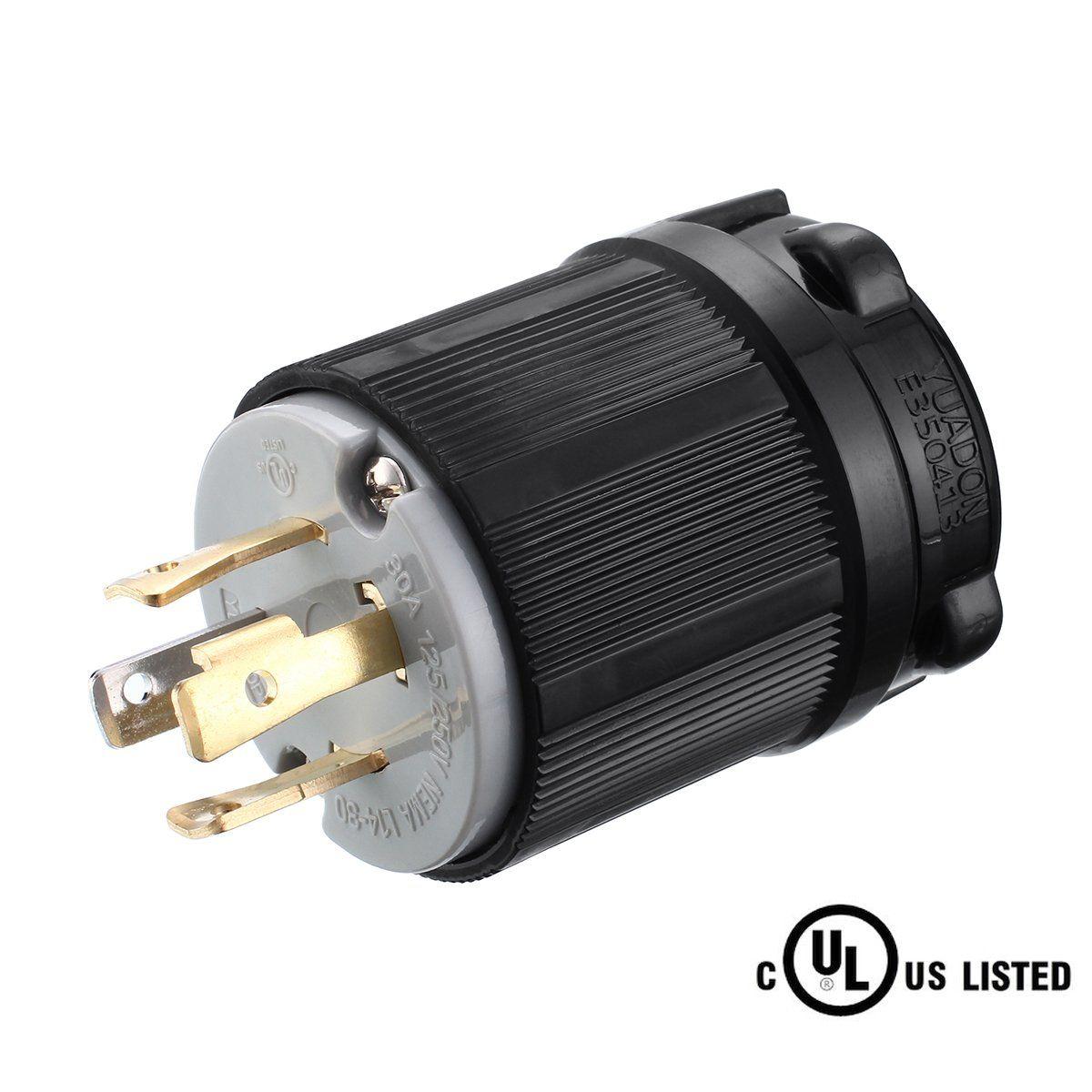 Miady NEMA L14-30P Generator Plug, 30 Amp 4-Prong Industrial Grade ...