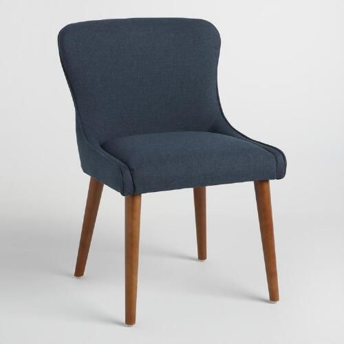 Elegant Navy Zarah Petite Wingback Upholstered Chairs Set Of 2: Blue   Fabric By  World Market