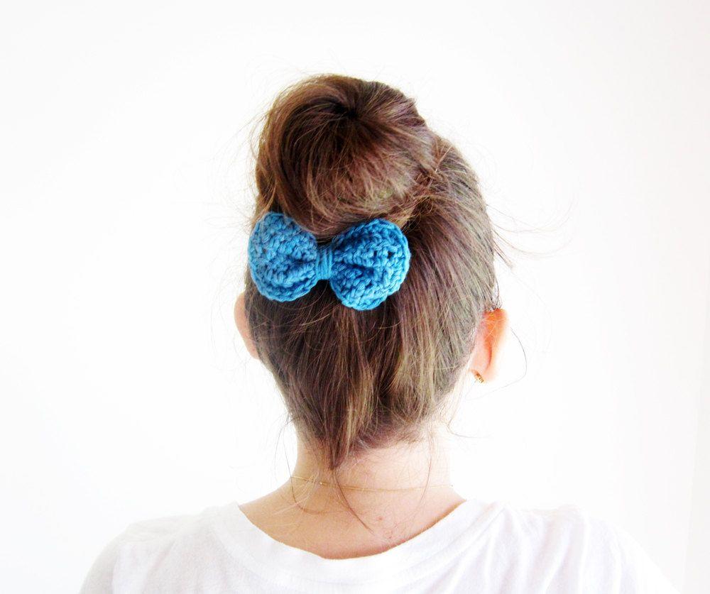 Blue hair bun bow crochet hair bow clip cute hair bow by akamatra