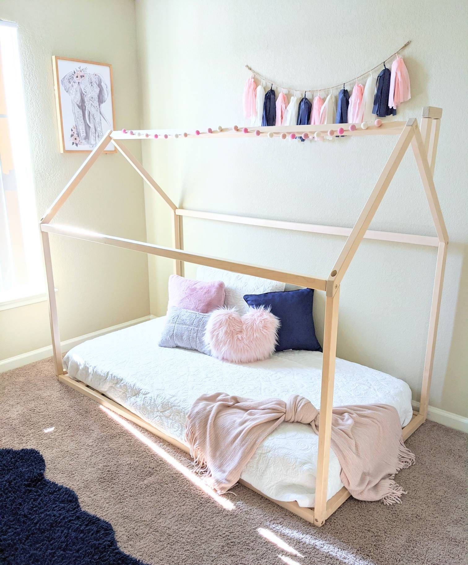 Toddler Bed House Bed Children Bed Wooden House Tent Bed Wood House Wood Nursery Kids Teepee Bed Wood Bed Frame Wood House Bed Kids Gift In 2020 Toddler Bed Frame Montessori