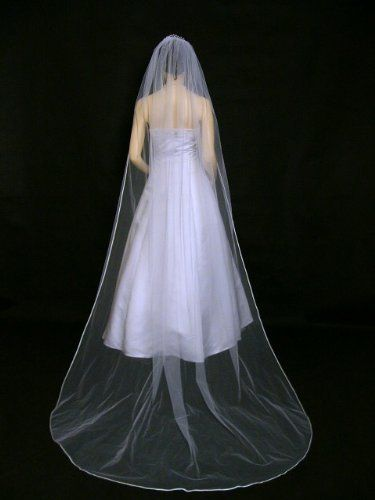 "Amazon.com : 1T 1 Tier Pencil Edge Bridal Wedding Veil - White Cathedral Length 108"" : Decorative Hair Combs : Beauty"