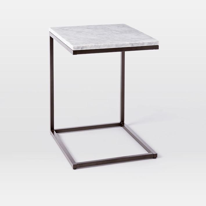 Box Frame C Base Side Table Marble Antique Bronze