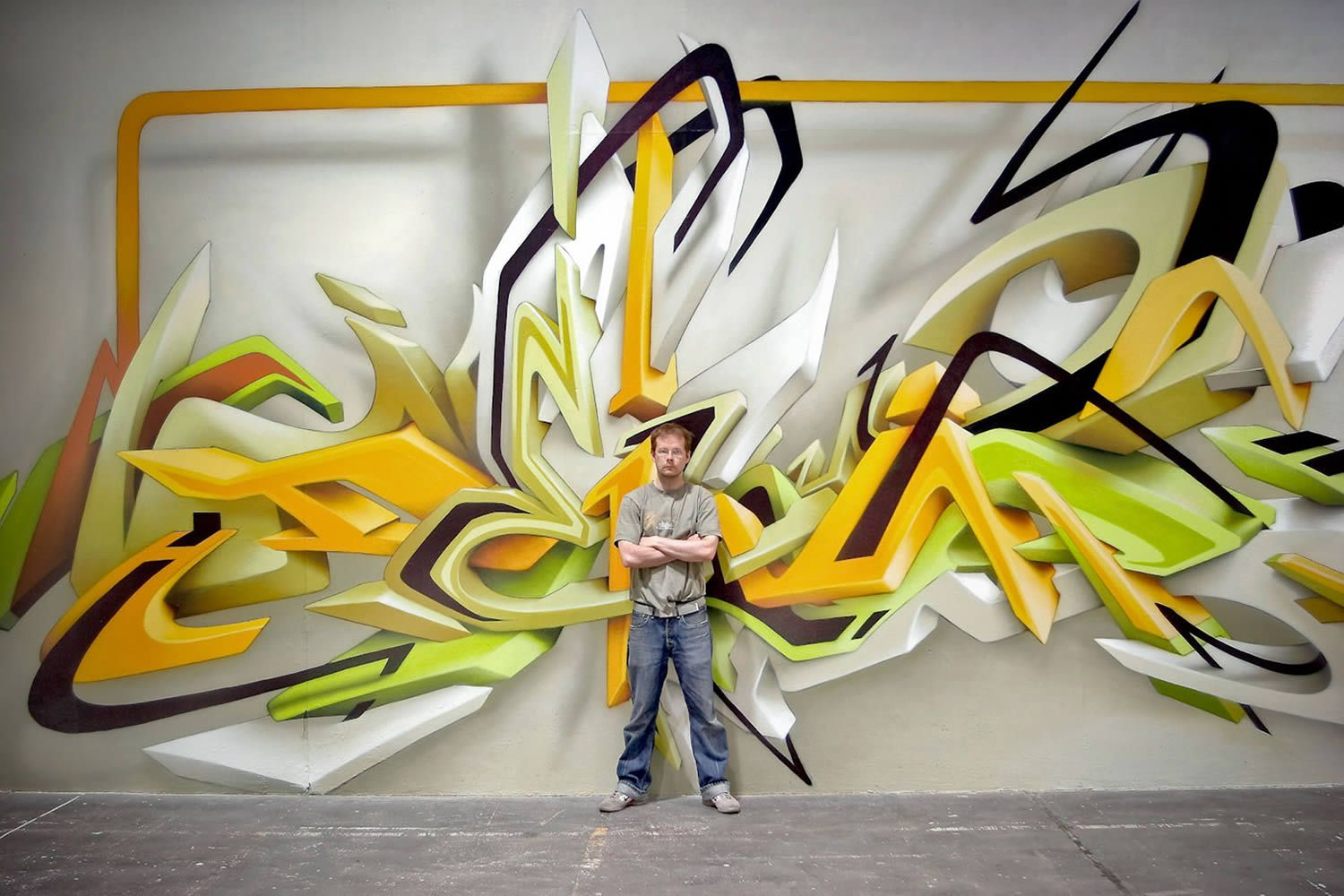Street art daim a german graffiti artist with over 25 years of experience and known for his 3d style