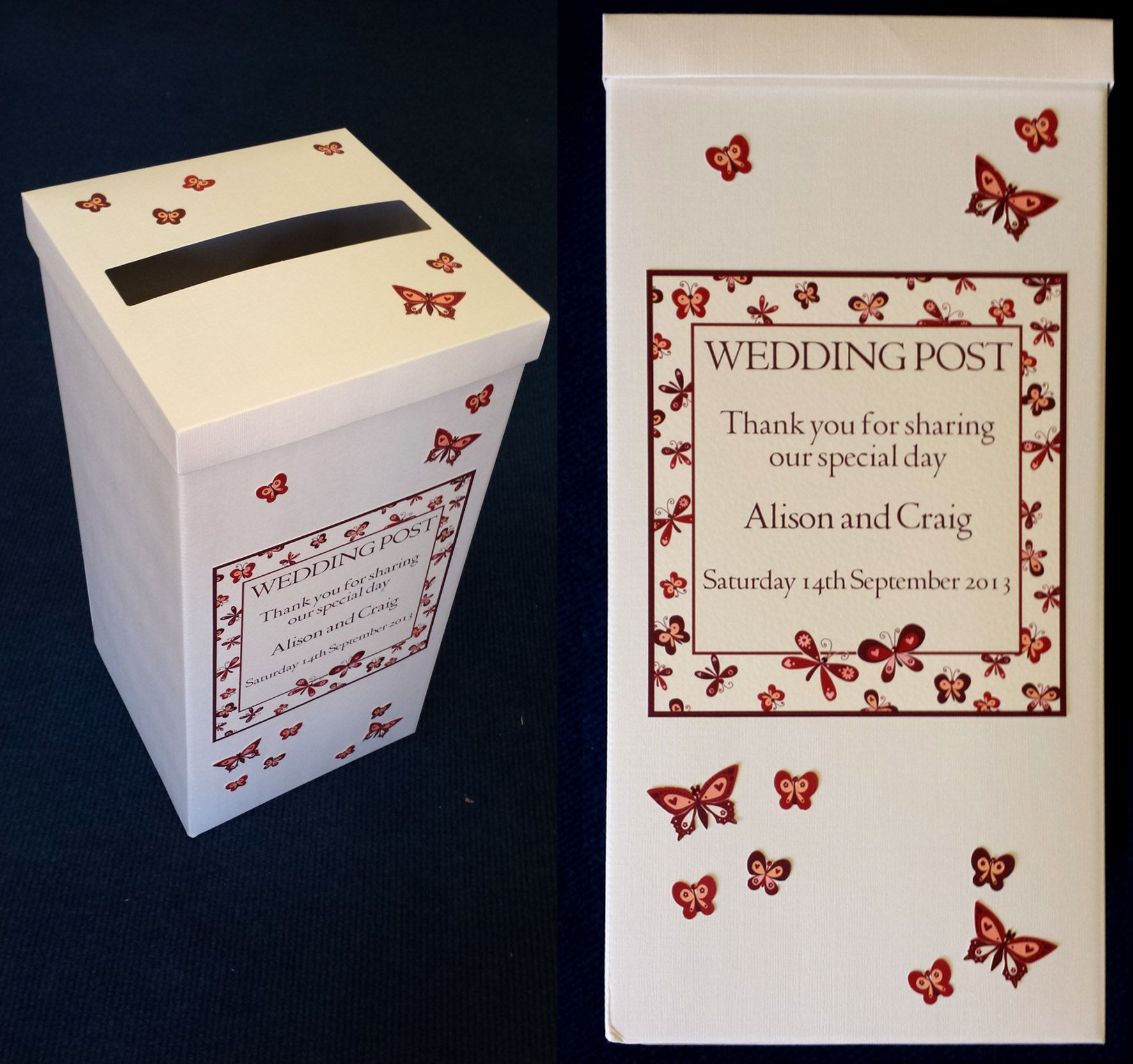 Our Butterflies on the breeze now has a Postbox to match. Personalised they are £25  http://wearetickledpink.co.uk/designs_nature.html