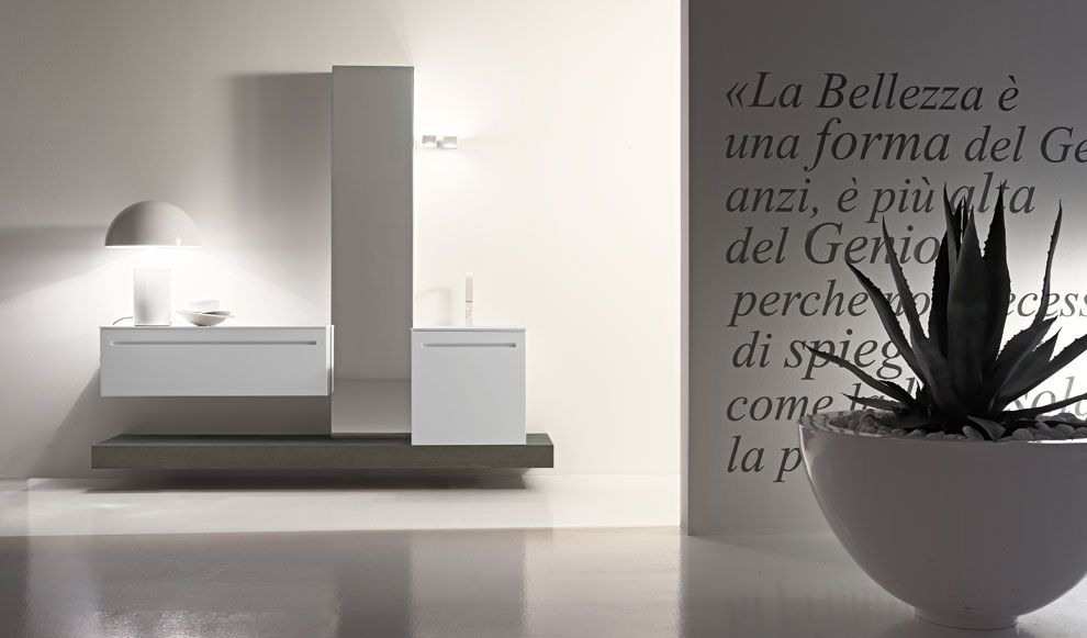 mobili bagno dai colori naturali e linee pulite per un arredo bagno semplice e raffinato