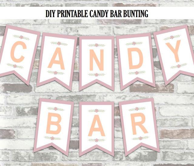 Prime Diy Printable Candy Bar Bunting Sign Free Wedding Interior Design Ideas Clesiryabchikinfo