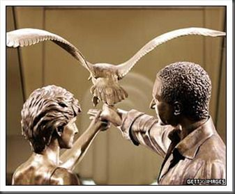 Statue honoring Princess Diana and Dodi located within Herrod's Dept. Store, London