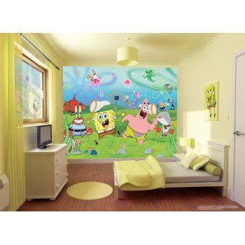 buy wall mural spongebob squarepants style wallpaper white brick