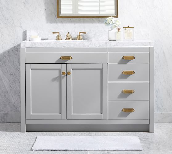 Davis Asymmetric Single Sink Console With Drawers Pottery Barn