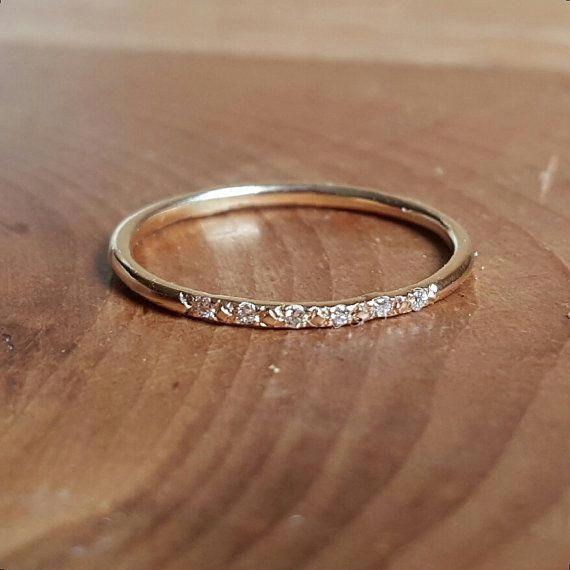 14k Gold Pave Diamond Ring Womens Gift Wedding Bands Wedding Band Thin Diamond Stacking Ri Thin Diamond Wedding Band Womens Wedding Bands Diamond Wedding Bands