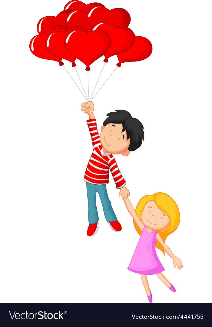 Download Happy couple flying with love shape balloon vector image ...