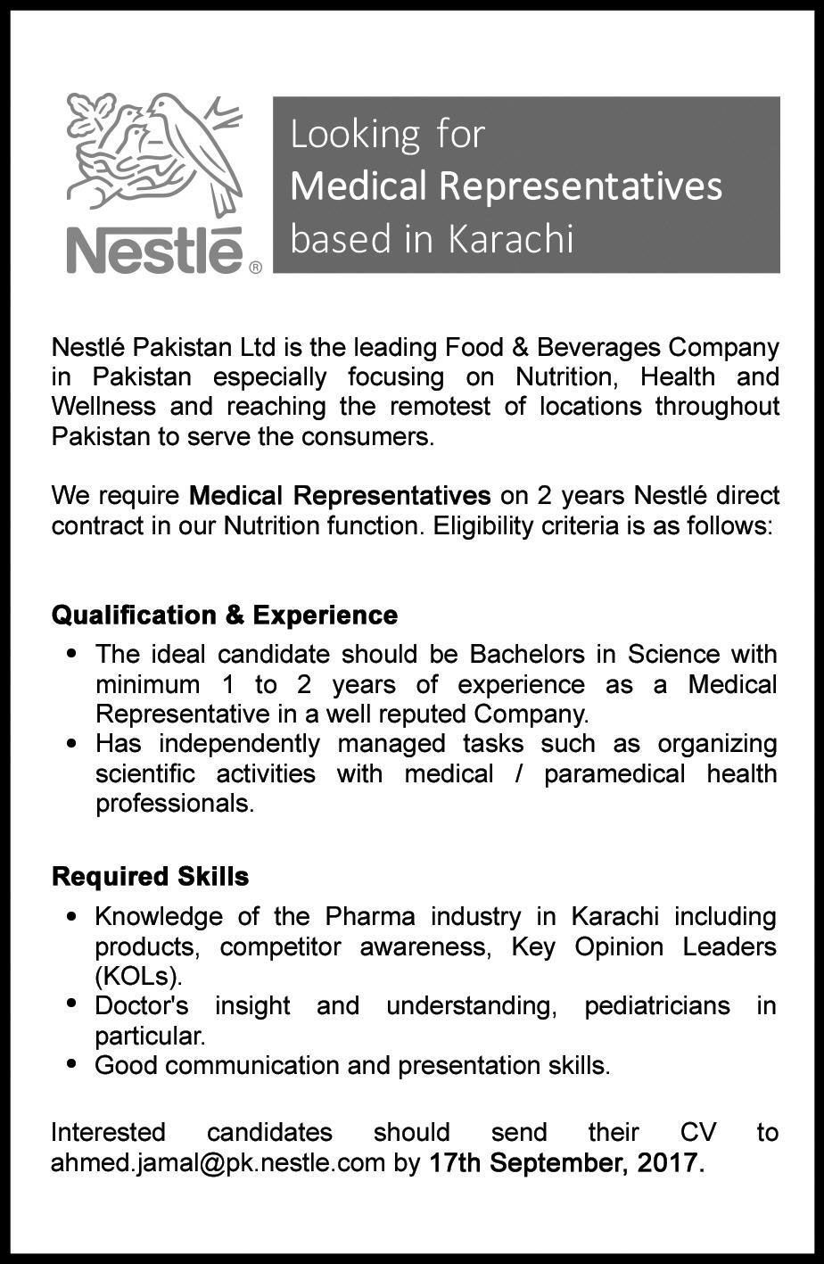 Career Opportunities in Nestle Pakistan Limited Career