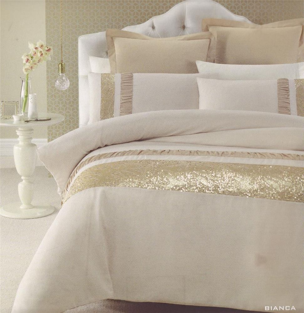 bianca gold beige golden sequins queen king quilt doona duvet cover set master bedroom. Black Bedroom Furniture Sets. Home Design Ideas