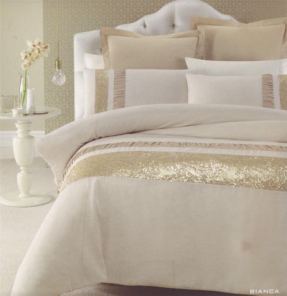 Bianca Gold Beige Golden Sequins Queen King Quilt Doona Duvet
