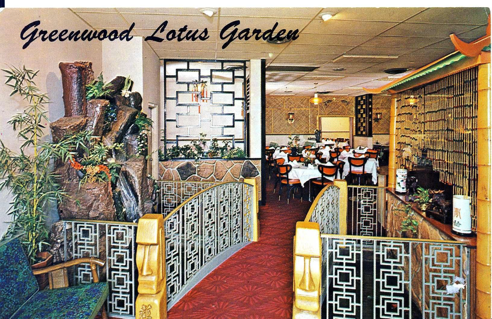 Vintage Postcard From The Lotus Garden Restaurant In Greenwood Indiana The Restaurant Is Still In Business Tiki Room Indoor Water Features Indiana