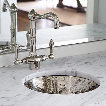 Round Hammered Metal Bar Sink With Vintage Faucet Wet Bar Sink