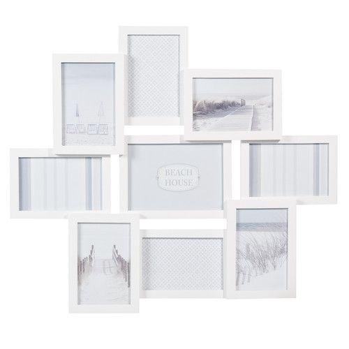 Cadre photo 9 vues en bois blanc 50 x 58 cm RELIEF | Déco ...