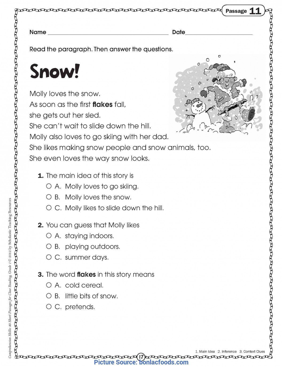 20 Free Printable Reading Comprehension Worksheets For 1st Grade Reading Worksheets 1st Grade Reading Worksheets Main Idea Worksheet