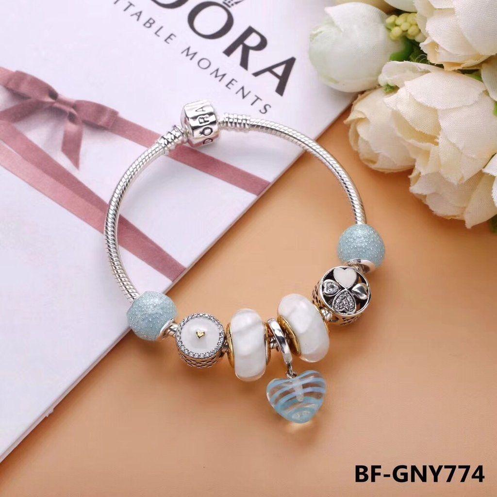 Pandora aqua white light color crystal charm bracelet in best