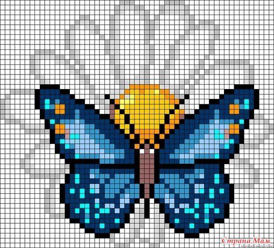 Вязание крючком С2С. Подборка схем с бабочками для пледов ...