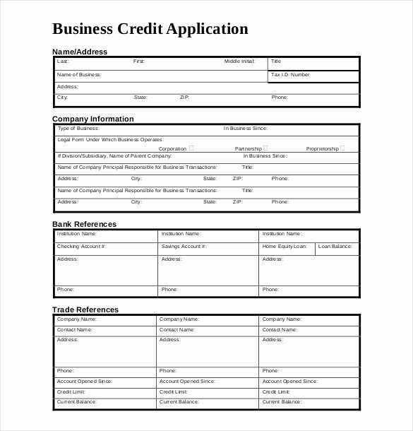 Credit Application form for Business in 2020 Credit