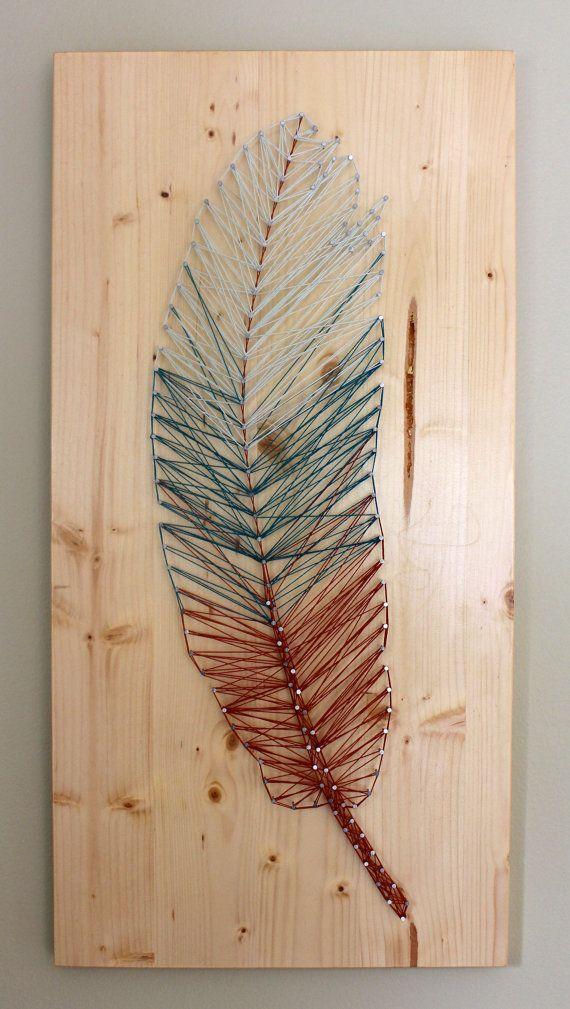 Feather String Art - Handmade #stringart
