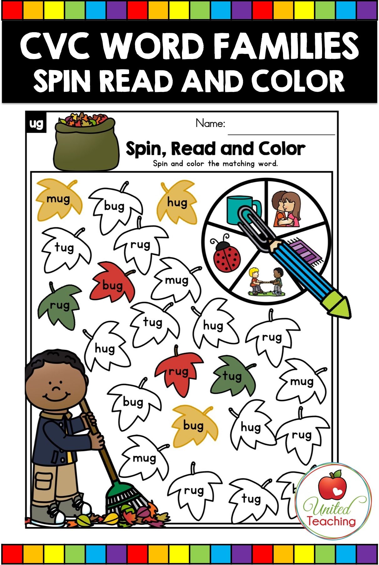 Cvc Words Spin And Color Worksheets