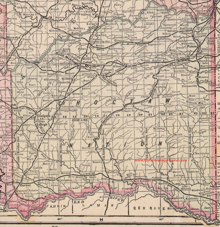 choctaw nation map 1905 indian territory oklahoma poteau durant south mcalester hartshorne