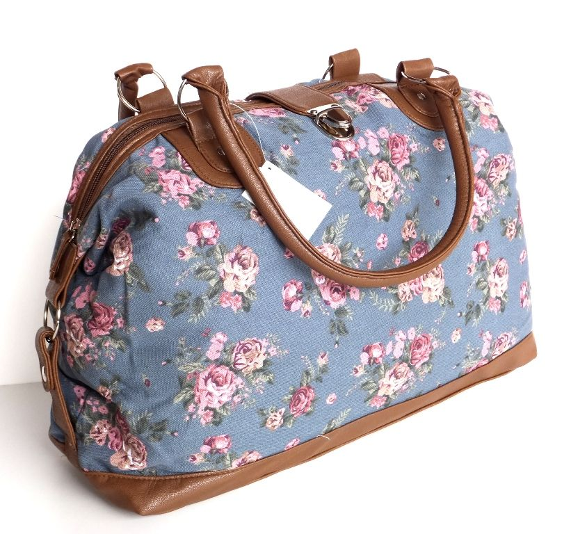NEW Womens Weekend Bag Ladies Canvas Overnight Bag Travel Holdall ...