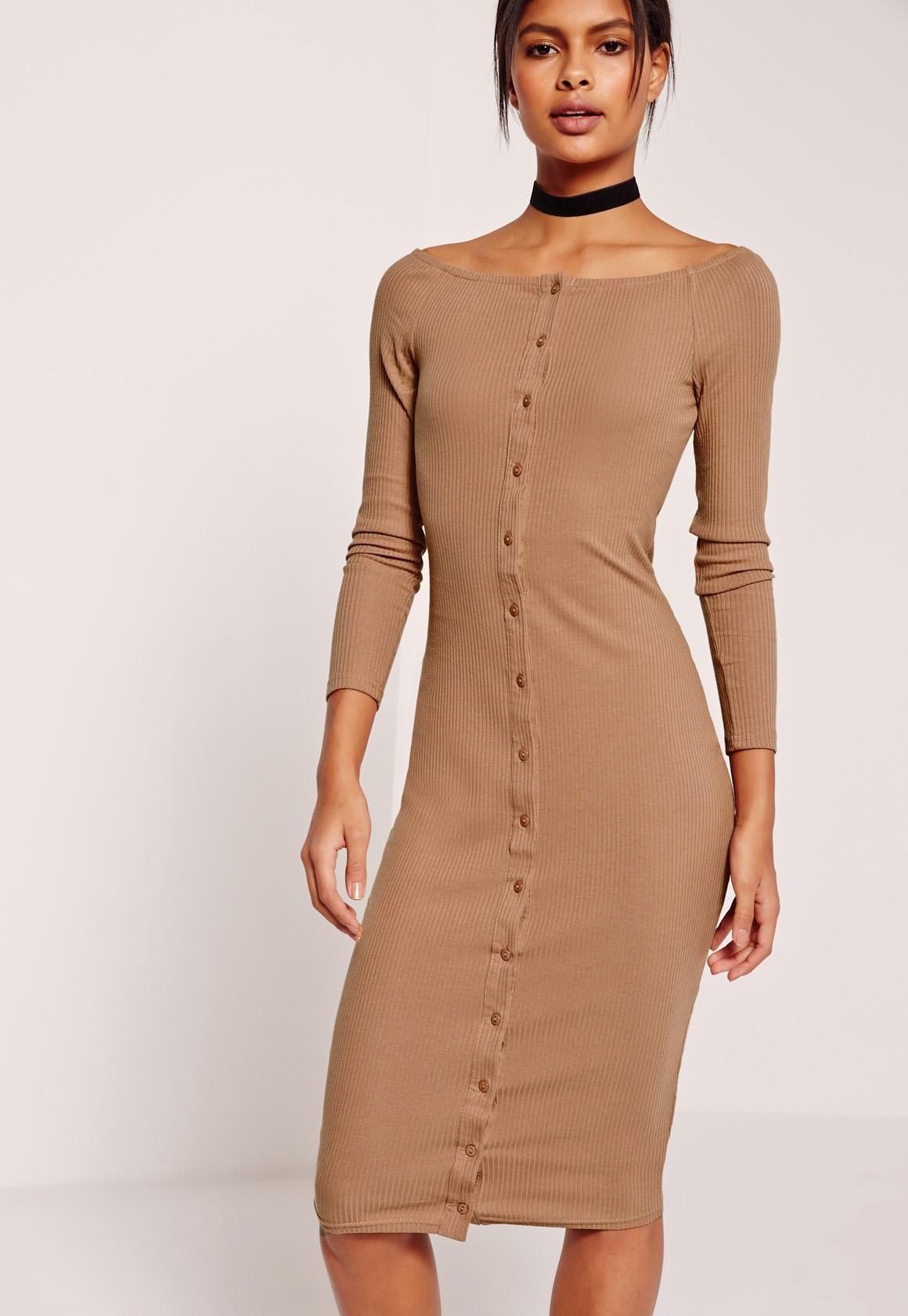 Missguided Long Sleeve Bardot Rib Midi Dress Tan Beige Long Sleeve Dress Ribbed Midi Dress Casual Day Dresses [ 1680 x 1160 Pixel ]