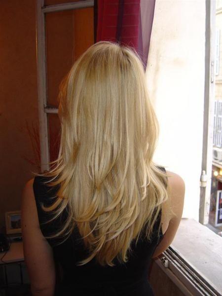 cheveux long dégradé effilé dos