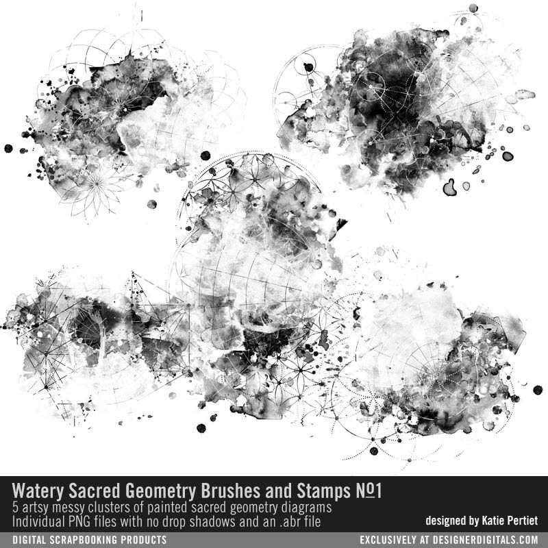 Watery Sacred Geometry Brushes and Stamps No. 01 artsy