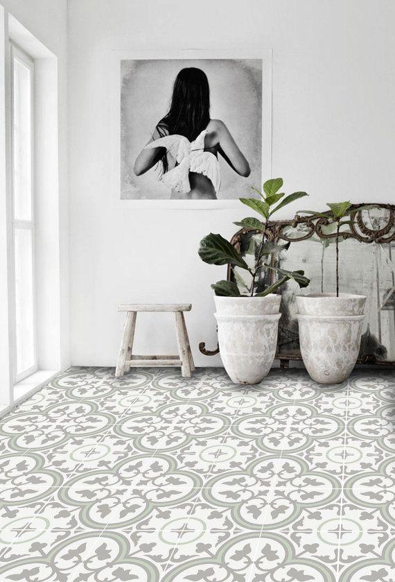 Vinyl Boden Fliesen Aufkleber – Boden Aufkleber – Carreaux Ciment Encaustic Trefle 2 Fliesen Aufkleber Pack in Distel