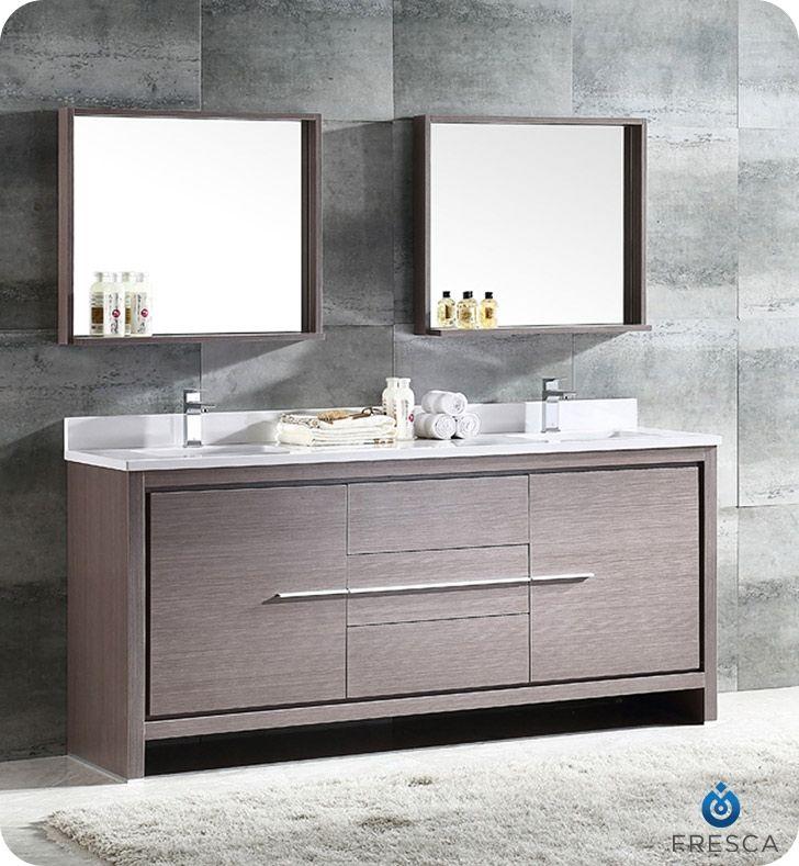 Fresca Allier 72 Gray Oak Modern Double Sink Bathroom Vanity W
