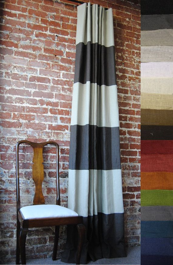96 L Striped Drapery Panel Custom Curtains 28 Color Options