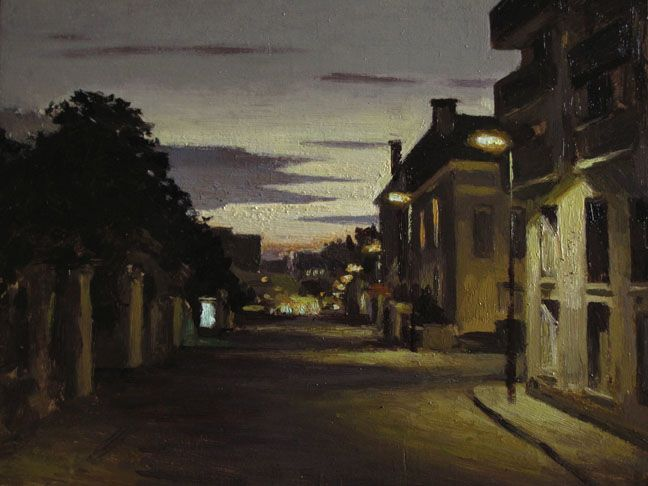 "Marc Chalmé, La gare, 2014, Oil on Board, 10½"" x 14"" #Contemporary #Art #Painting #France #Cityscape #Axelle #Streetscape #Night"