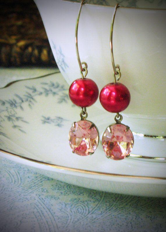 Rose Pink and Red Pearl Dangle Earrings Rhinestone by RewElliott