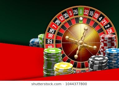 illustration Online Poker casino banner with american roulette on green surface table. Marketing Luxury Banner Jackpot Online Casino with classic roulette. Advertising poster with red ribbon for text.