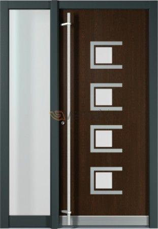 Puerta de entrada en aluminio elegancia seguridad y for Puertas de aluminio modernas