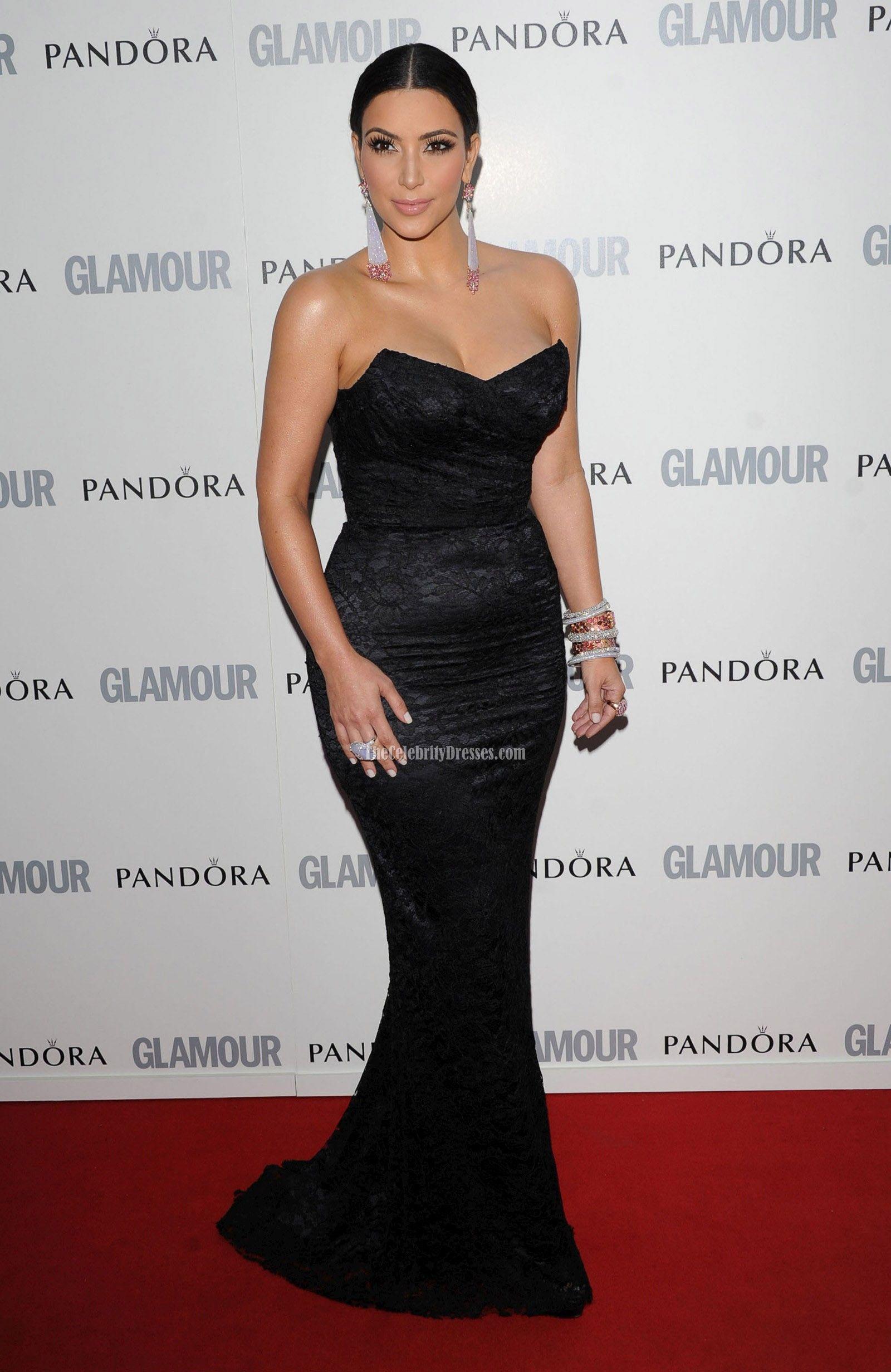 Kim Kardashian Black Strapless Lace Dress 2011 Glamour Women