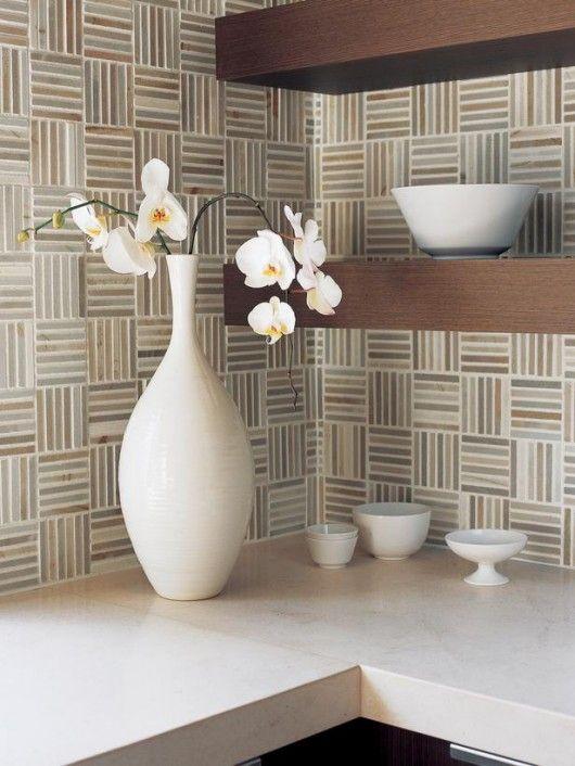 Walker Zanger Waterfall Mosaic Weave Pattern in Woodridge with Porto on modern mosaic shower curtain, modern kitchen tile, modern mosaic floor, modern stone tile, modern tile wall, blue mosaic tiles bathroom,